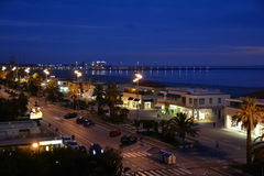 The seaside town of Viareggio,Italy. The fun town of Viareggio,Italy in Tuscany makes for an awesome side day trip on ones vacation to Tuscany. The promenade Stock Photo