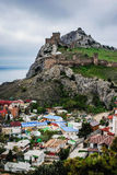 Seaside town. View of the ancient Genoese fortress landmark. Sudak. Crimea. Russia Royalty Free Stock Image