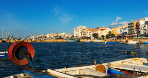 Seaside of typical mediterranean town from fishing port Royalty Free Stock Photography