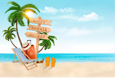 Seaside vacation vector. Travel items on the beach. Royalty Free Stock Image