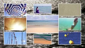 Seaside vacations, composition. Seaside vacations. A collage of many beach items and scenes stock video footage