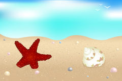 Seaside. Vector. Starfish, Shells And Pearls Over Sand Royalty Free Stock Photos