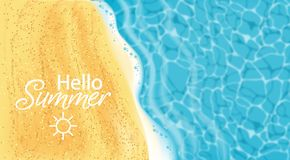 Free Seaside Vector Realistic Top View. Summer Card Coastline. Beach Waves 3d Detailed Backgrounds Royalty Free Stock Photography - 149532097