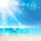 Seaside view. Vector Blurry seaside view with sun rays. Vector illustration vector illustration