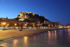 Seaside view of Alicante, Spain. Seaside view of Alicante illuminated at night, Spain Stock Photography