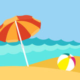 Seaside view on beautiful beach with parasol. Seaside view on beautiful sunny beach with ball and parasol - vector background stock illustration