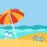 Seaside view on beautiful beach with parasol Stock Photo