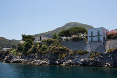 Seaside view. Eolian island - seaside view from the sailingboat Stock Image