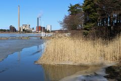 Seaside View from Espoo, Finland During Spring. Espoo, Finland, March 2017. Beautiful springtime view during a sunny day in Southern Finland. There is the Baltic stock photography