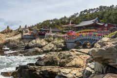 Seaside view on Haedong Yonggungsa Temple with many lanterns to celebrate buddhas birthday. Located in Gijang-gun, Busan, South stock images