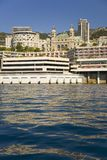 Seaside view of Monte-Carlo and skyline, the Principality of Monaco, Western Europe on the Mediterranean Sea Stock Image