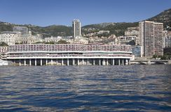 Seaside view of Monte-Carlo and skyline, the Principality of Monaco, Western Europe on the Mediterranean Sea Royalty Free Stock Photography
