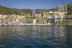 Seaside view of Monte-Carlo and skyline, the Principality of Monaco, Western Europe on the Mediterranean Sea Stock Photography