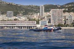 Seaside view of Monte-Carlo and skyline, the Principality of Monaco, Western Europe on the Mediterranean Sea Stock Photos