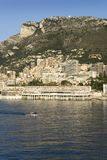 Seaside view of Monte-Carlo and skyline, the Principality of Monaco, Western Europe on the Mediterranean Sea Stock Images