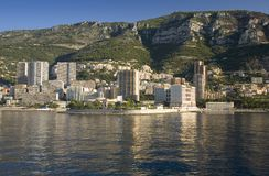 Seaside view of Monte-Carlo and skyline, the Principality of Monaco, Western Europe on the Mediterranean Sea Royalty Free Stock Photos