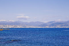 Seaside view over the Mediterranean coast from Antibes, France Royalty Free Stock Photo