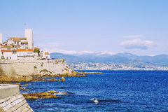 Seaside view over the Mediterranean coast from Antibes, France Stock Image