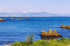 Seaside view over the Mediterranean coast from Antibes, France Royalty Free Stock Photography