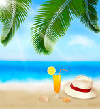 Seaside view with palm leaves, coctail, shells Royalty Free Stock Image