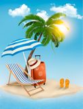 Seaside view with a palm tree, beach chair and par. Asol. Summer vacation concept background. Vector Royalty Free Stock Images
