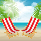 Seaside view with a palm tree, beach chair. Stock Image