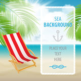 Seaside view with a palm tree, beach chair. Royalty Free Stock Photo