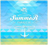 Seaside view poster. Summer  geometric background. Royalty Free Stock Photo