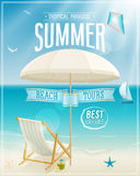 Seaside view poster. Vector background Royalty Free Stock Photo