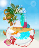 Seaside view on sunny day with sand, beach chair, anchor, life preserver, fish, splash, sunglasses and palm leaves. Summer day poster with beach chair Stock Photography