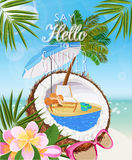 Seaside view on sunny day with sand, coconut, beach chair, sunglasses, beach umbrella, tropical flower and palm leaves. Stock Photos