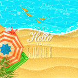 Seaside view on sunny day with sand, fish, beach umbrella and palm leaves. Royalty Free Stock Photography