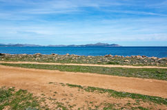 Seaside view on a sunny spring day. In north Mallorca, Balearic islands, Spain Stock Image