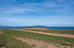 Seaside view on a sunny spring day. In north Mallorca, Balearic islands, Spain Stock Photos