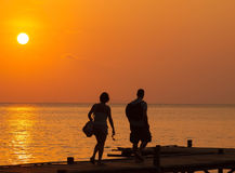 Seaside view in sunset time Royalty Free Stock Photography