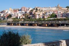 Seaside view of  Tarragona in spring Stock Image