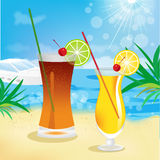 Seaside view with tropical cocktails royalty free illustration