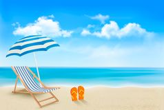 Seaside view with an umbrella, beach chair Royalty Free Stock Photo