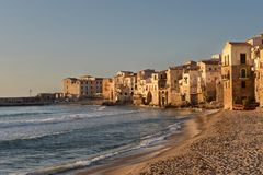 Seaside village Cefalu in Sicily in the sunset light Stock Photography