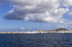 The seaside village Naoussa in Paros island, Cyclades, Greece Stock Photos