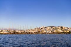 The seaside village Naoussa in Paros island, Greece, at dusk Stock Photos