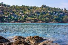 Seaside village overlooking the ocean in Thailand Stock Photo