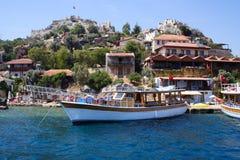 Seaside village on the rocky coast Royalty Free Stock Photography