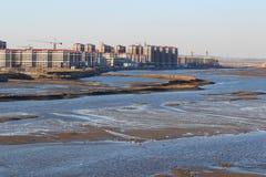Seaside wetlands buildings Royalty Free Stock Images