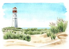 Free Seaside With Sand Dunes And Old Lighthouse, Hand Drawn Watercolor Illustration, Isolated On White Background Stock Photography - 210033212