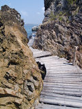 Seaside Wood Bridge Royalty Free Stock Photos