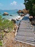Seaside Wood Bridge Stock Photography