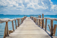 Seaside wooden bridge Stock Images