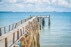 Seaside wooden bridge Royalty Free Stock Photos