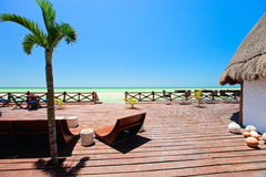 Seaside wooden terrace Stock Photos